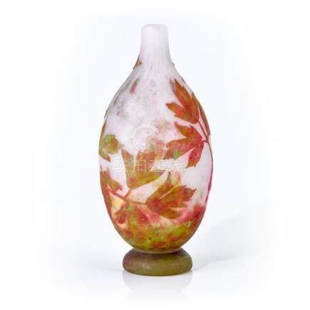 A Daum Nancy 'Bleeding Hearts' cameo glass vase, French, cir