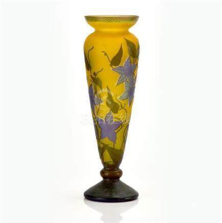 An Emile Gallé 'Clematis' cameo glass vase, French, circa 19