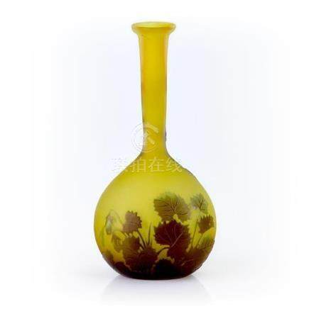 An Etablissement Gallé 'Columbines' cameo glass vase, French