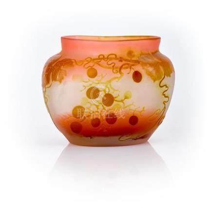 An Etablissement Gallé 'Grape Vine' cameo glass vase, French