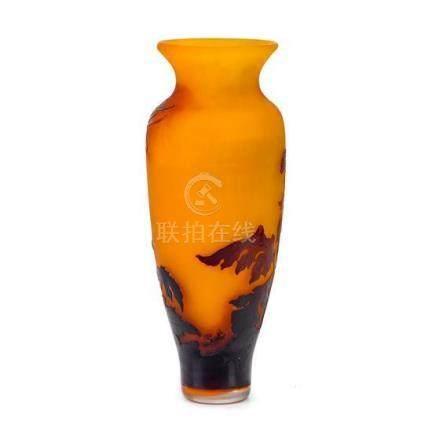 An Etablissement Gallé 'Chrysanthemum' cameo glass vase, Fre