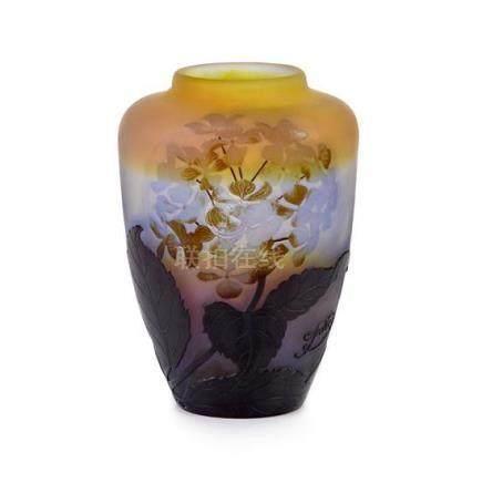 An Etablissement Gallé 'Hydrangeas' cameo glass vase, French
