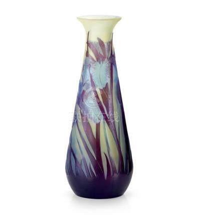 An Etablissement Gallé 'Iris' cameo glass vase, French, circ
