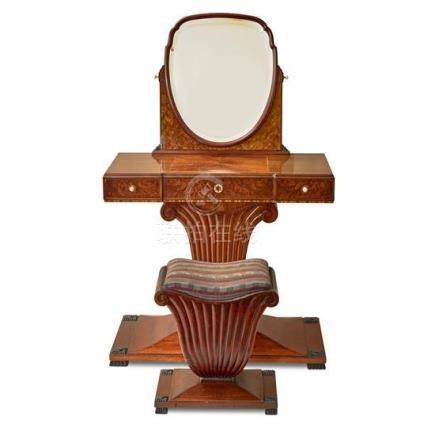 An Art Deco mahogany and amboyna dressing table and later st