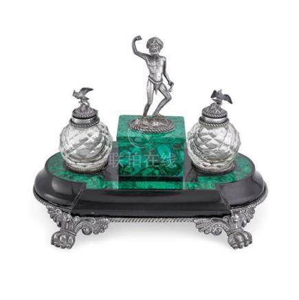 A rare Australian silver and malachite ink stand, Julius Sch