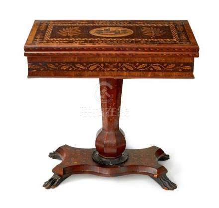 A Killarney Arbutus marquetry games table, Irish, circa 1860