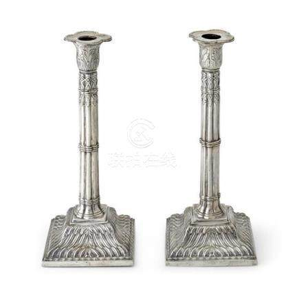 A pair of George III sterling silver candlesticks, Ebenezer