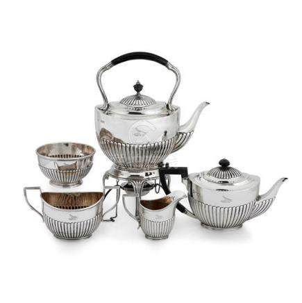 An assembled late Victorian sterling silver tea and coffee s