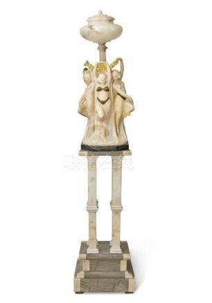 A marble and alabaster 'Three Graces' figural lamp, Italian,