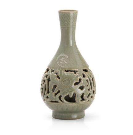 A 'longquan' celadon openwork 'peony' vase Ming dynasty or l