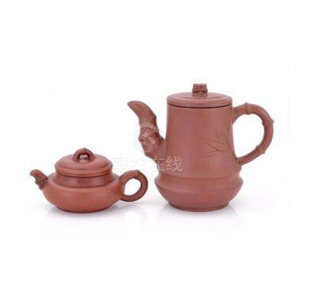 Two Yixing teapots and covers, 20th century (4) 13 cm high,