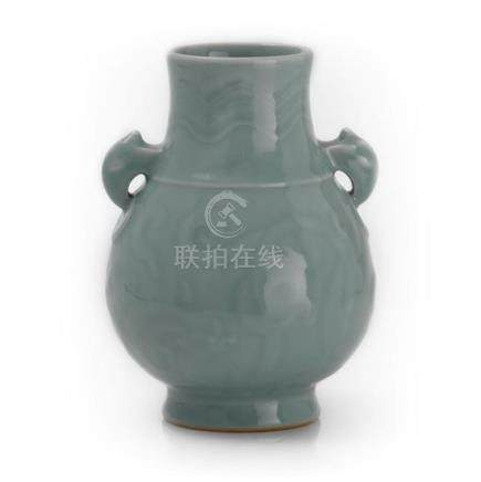 A celadon-glazed hu-shaped vase, 20th century 19.5 cm high