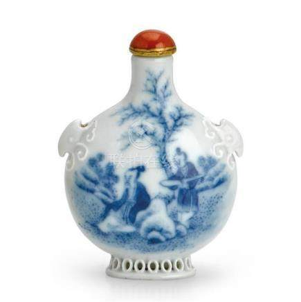 A reticulated blue and white porcelain 'Wang Xizhi' snuff bo