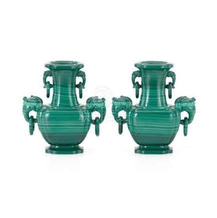 A pair of malachite vases (4) 15 cm high