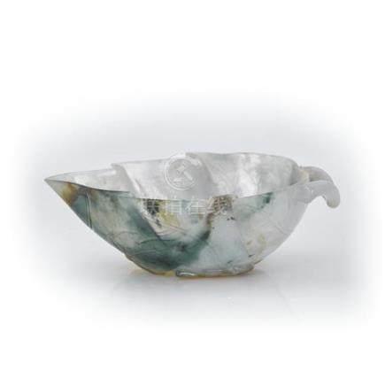 A jadeite leaf-form washer (2) 10.5 cm wide