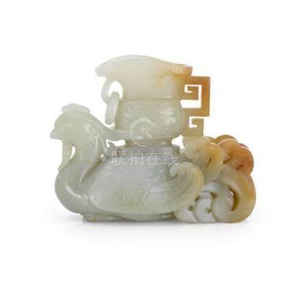 A celadon jade 'phoenix' vase, 19th/20th century (2) 12 cm l