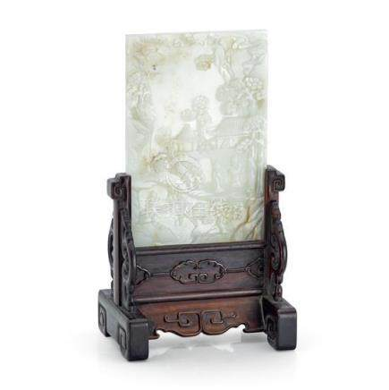 A celadon jade rectangular table screen, 19th/20th century (