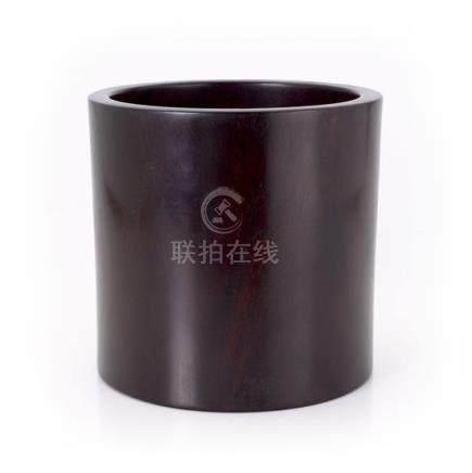 A large zitan brush pot Bitong, Qing dynasty 20.5 cm high