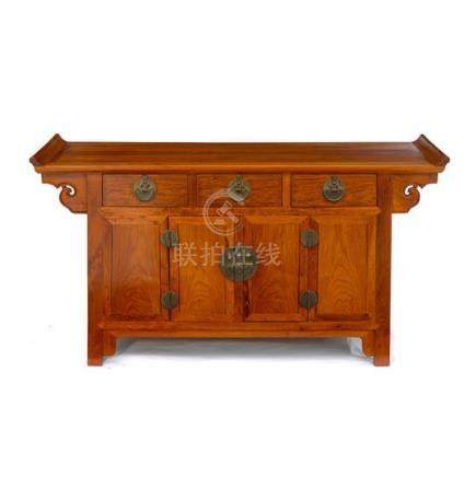 A mixed hardwood three-drawer coffer Liansanchu, early 20th