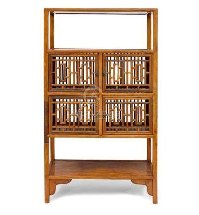 A huanghuali and hardwood Ming-style open shelf cabinet with