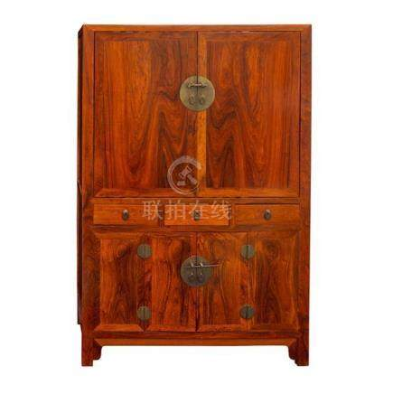 A hardwood square-corner cabinet, 20th century 164.5 cm high