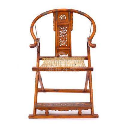 A hardwood Ming-style folding armchair Jiaoyi, 20th century