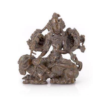 A bronze figure of Durga, Nepal, circa 15th century 11.5 cm