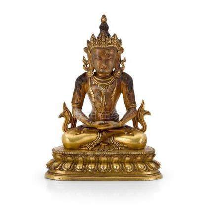 A gilt bronze figure of Amitayus Qing dynasty, 18th century