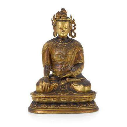 A gilt bronze figure of Buddha, Mongolia, probably Dolonnor,