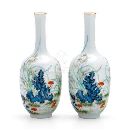 A pair of famille-rose vases, 20th century (2) 14.7 cm high