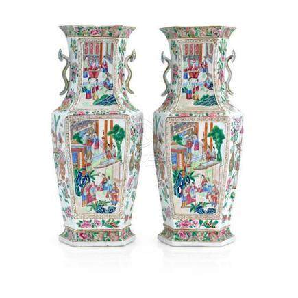 A large pair of famille rose vases Qing dynasty, 19th centur