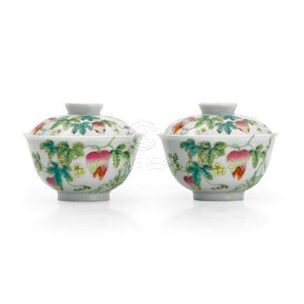 A pair of famille-rose 'Balsam pear' teabowls and covers sea