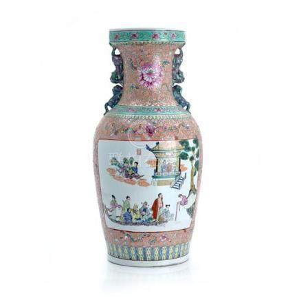 A large famille-rose pink-ground vase, 19th/20th century 61c