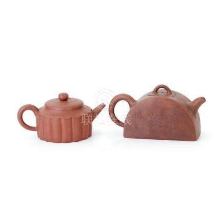 Two yixing teapots and covers, 20th century (4) 17.5 cm long