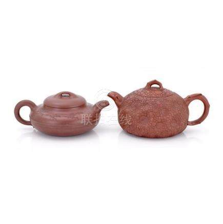 Two Yixing teapots and covers, 20th century (4) 19.5 cm long