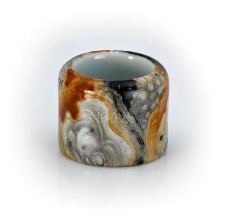 An unusual simulated rockwork archer's ring, 20th century 3