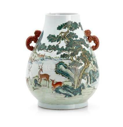 A famille-rose 'hundred deer' vase, 20th century 45 cm highC