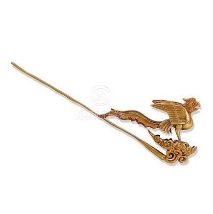 A gold 'phoenix' hairpin