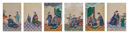 A set of six watercolour paintings on rice paper Qing dynast