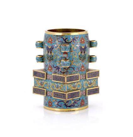 An unusual cloisonné cong-form vase 10.5 cm high