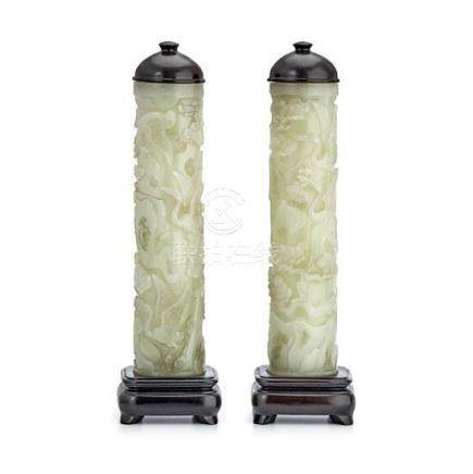 A pair of celadon jade reticulated cylindrical perfumers Qin