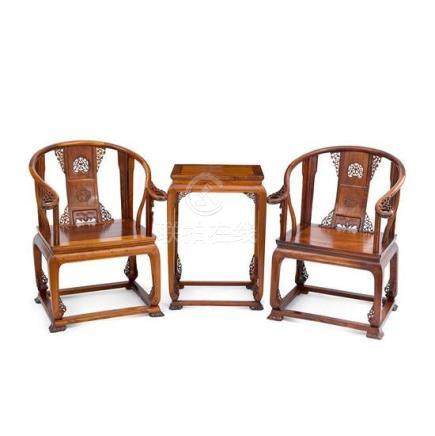 A pair of huanghuali Qing-style armchairs, Quanyi, and a sid