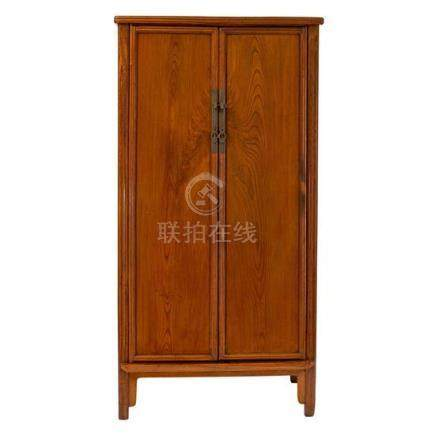 An elm wood tapered cabinet, Yuanjiaogui Qing dynasty, 19th