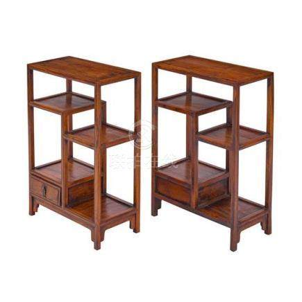 A pair of Qing-style hardwood display stands, 19th/20th cent
