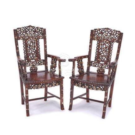 A pair of mother of pearl inlaid hardwood armchairs, 20th ce