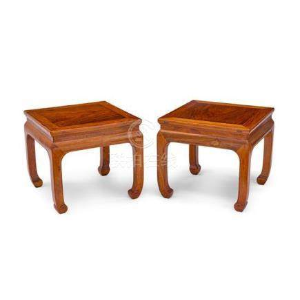 A pair of Ming-style huanghuali square stools Fangdeng, 20th
