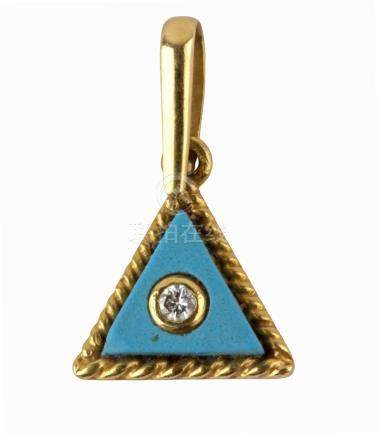 Triangle shaped pendant in 18 k. yellow gold with turquoise and diamond