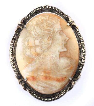 First half of 20 th century carved shell cameo brooch in silver with marcasites