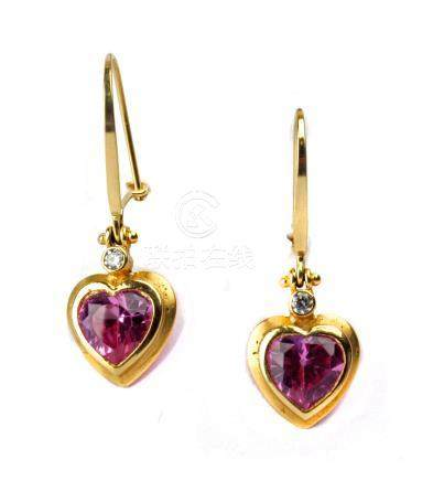 18 k. yellow gold hook earrings with diamonds and heart cut roses de France
