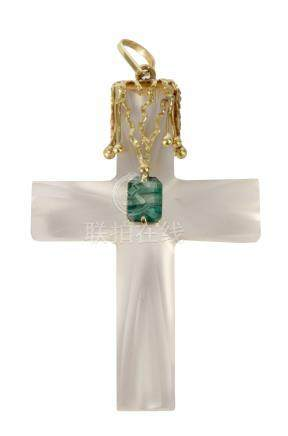 18 k. yellow gold and glass pendant cross with a brazilian emerald